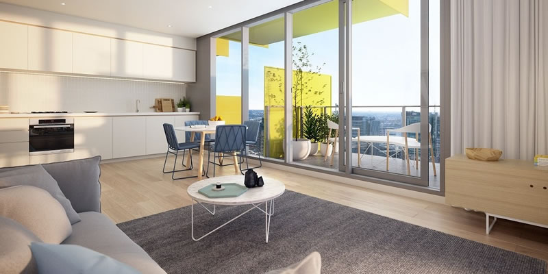 adelaide property lifestyle - kodo apartments living room view
